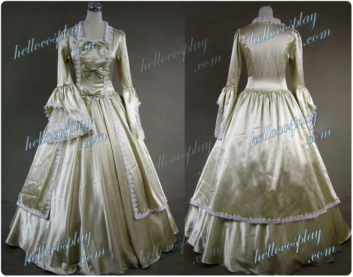 Marie Antoinette Victorian Gold Dress Evening Gown H008