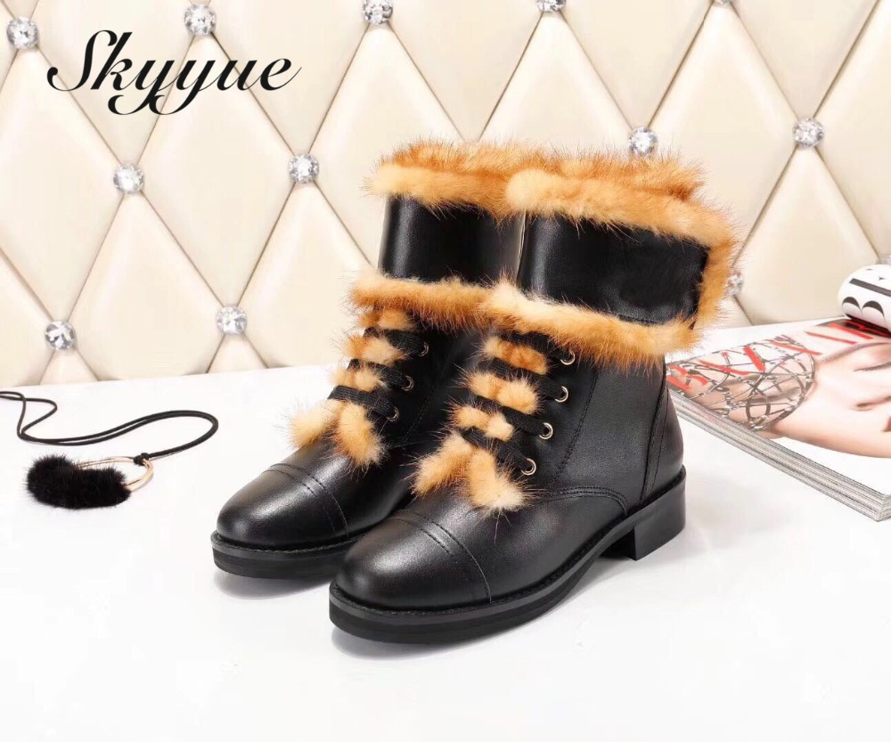 SKYYUE New Genuine Leather Metal Deco Women Boots Round Toe Real Fur Brand Designer Winter Ankle Boots Shoes Women все цены