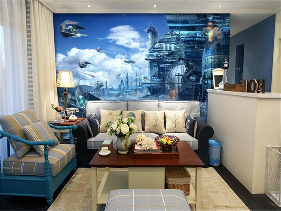 3d room wallpaper mural custom photo star wars HD fantasy painting sofa TV background wallpaper for walls 3d non-woven sticker free shipping hepburn classic black and white photographs women s clothing store cafe background mural non woven wallpaper