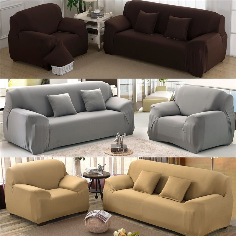 New Slipcover Stretch Sofa Cover Sofa With Loveseat Chair: Aliexpress.com : Buy Pure Color Elastic Polyester Sofa