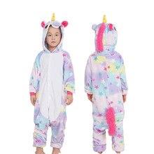 Купить с кэшбэком Boys Girls Pajamas Kigurumi Panda Cosplay Costume Flannel Star Unicorn Overalls Pajamas Kids Children Giraffe Blanket Sleepers