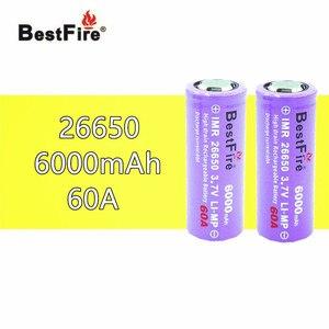 Image 1 - 2 pcs 26650 Bestfire 6000 mAh 3.7 V แบตเตอรี่ Li   Ion E บุหรี่ Vape ไฟฉาย LED ไฟฉาย 26650 b009 B043