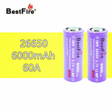 2 pièces 26650 Bestfire 6000mAh 3.7V Li ion batterie Rechargeable pour Cigarette électronique Vape LED lampe de poche lampe torche 26650 B009 B043