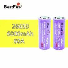 2pcs 26650 Bestfire 6000mAh 3.7V Li ion Rechargeable Battery for E Cigarette Vape LED Flashlight Torch Light 26650 B009 B043