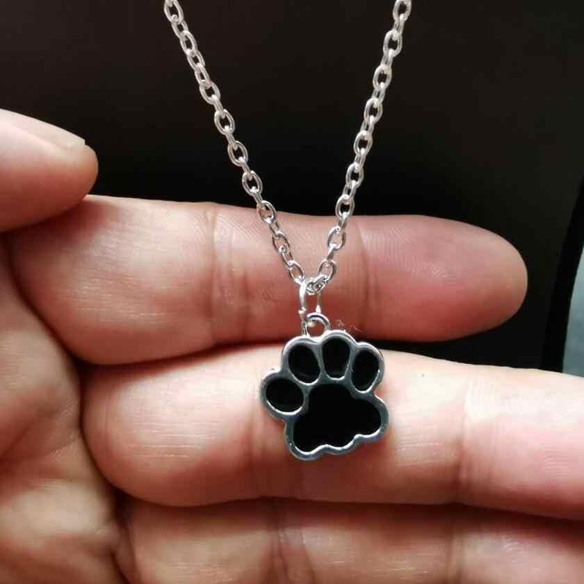 Mix Tasarım Emaye Pet Köpek Kedi Ayak Pençe Baskı Kolye Kadınlar Için Klavikula Zincir Gerdanlık Collier Bijoux Kolye Kolye Yeni