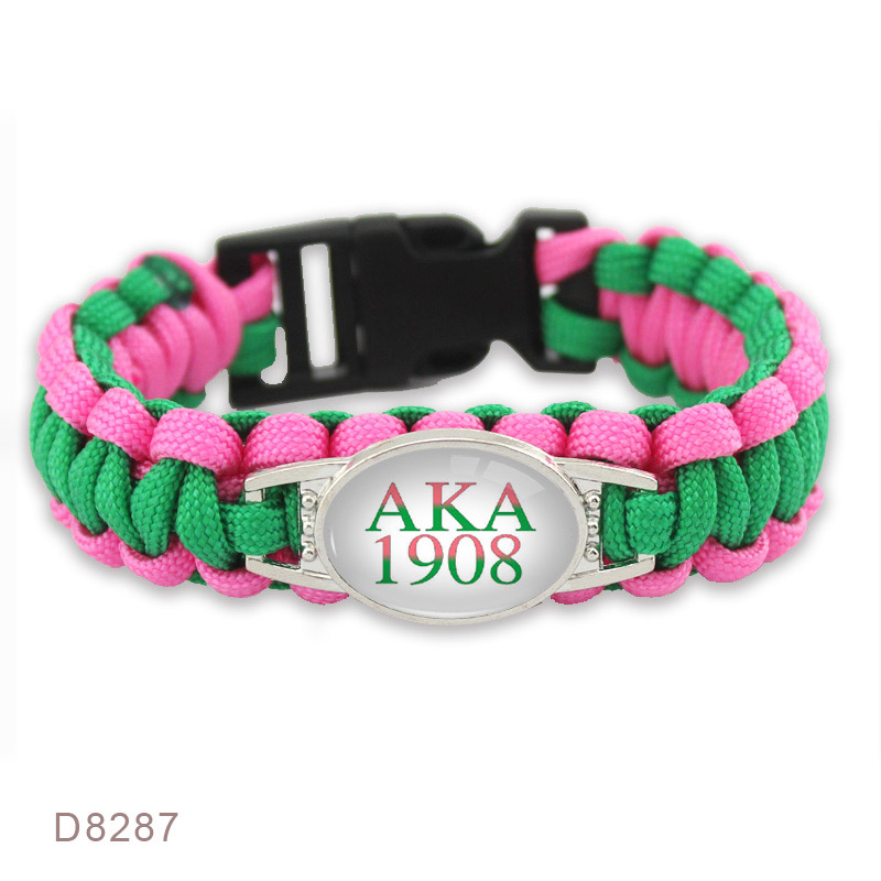 AKA 1908 Puerto Rico Flag Baseball Starfish Beach Railway Crossing I Love You to the Moon and Back Survival Paracord Bracelets image