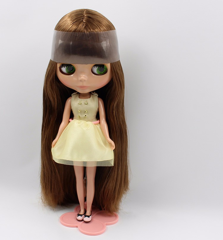 free shipping factory blyth doll bjd brown straight greasy hair tan skin toy gift BL0623 toy
