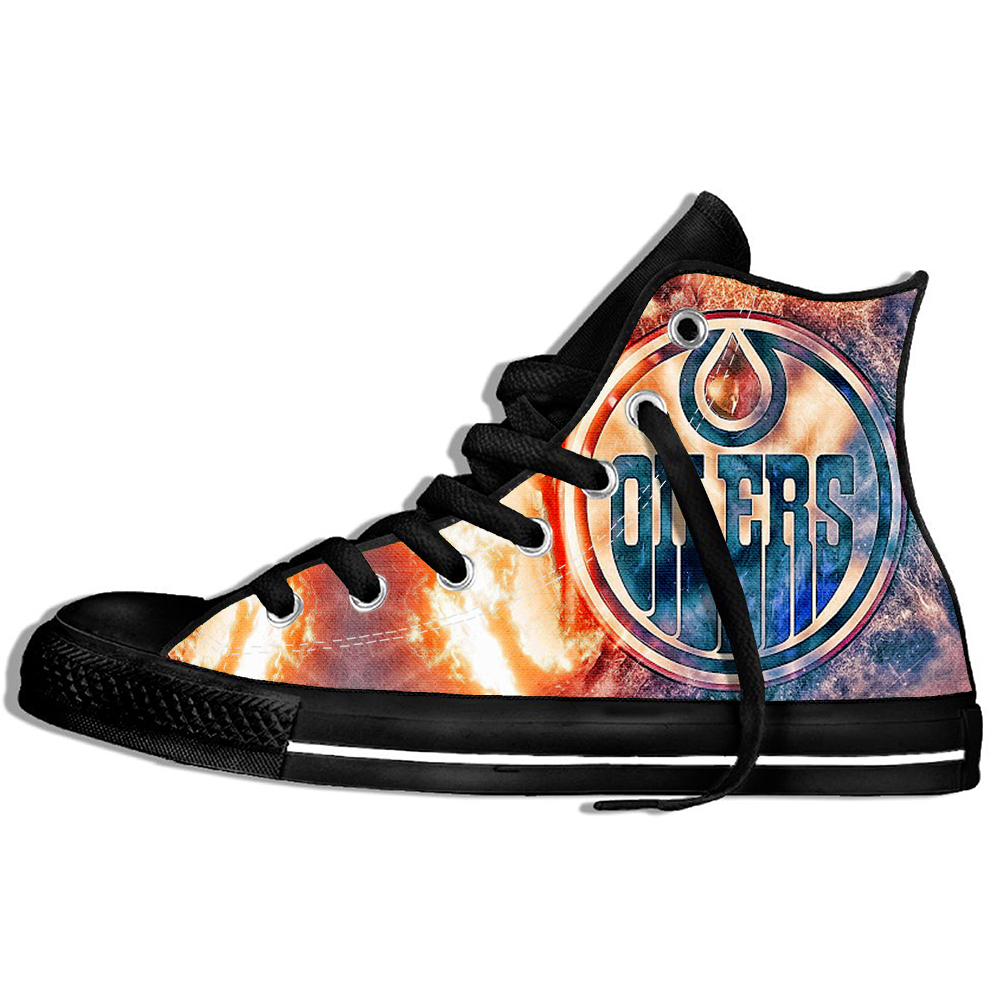New 2019 Design Shoes For Men And Women With The National Hockey League Edmonton Oilers Logo High Top Sneakers