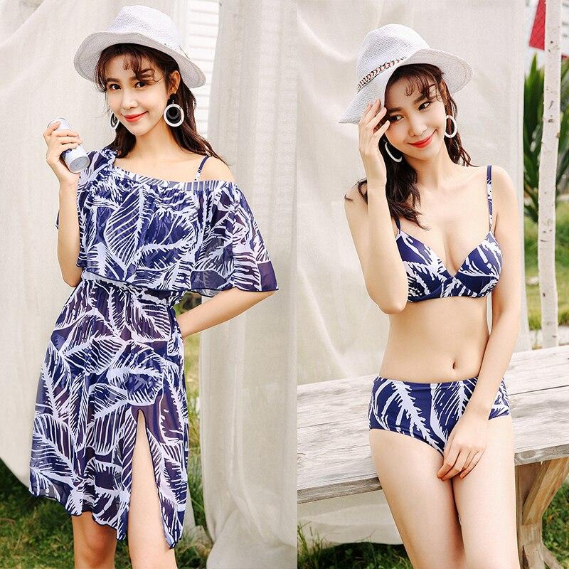 2018 Modern Bikini Push Up Padded Sexy Bikinis Set Mid Waist Swimsuits 3 Pieces with Cover Ups Summer Women Blue Bathing Suits цена