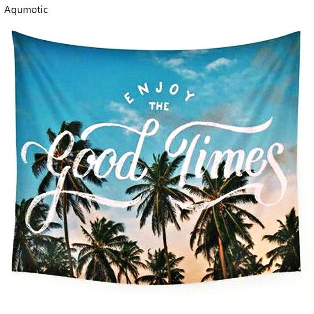 Aqumotic Romantic Wall hanging Cloth Coconut Island Time Hanging ...