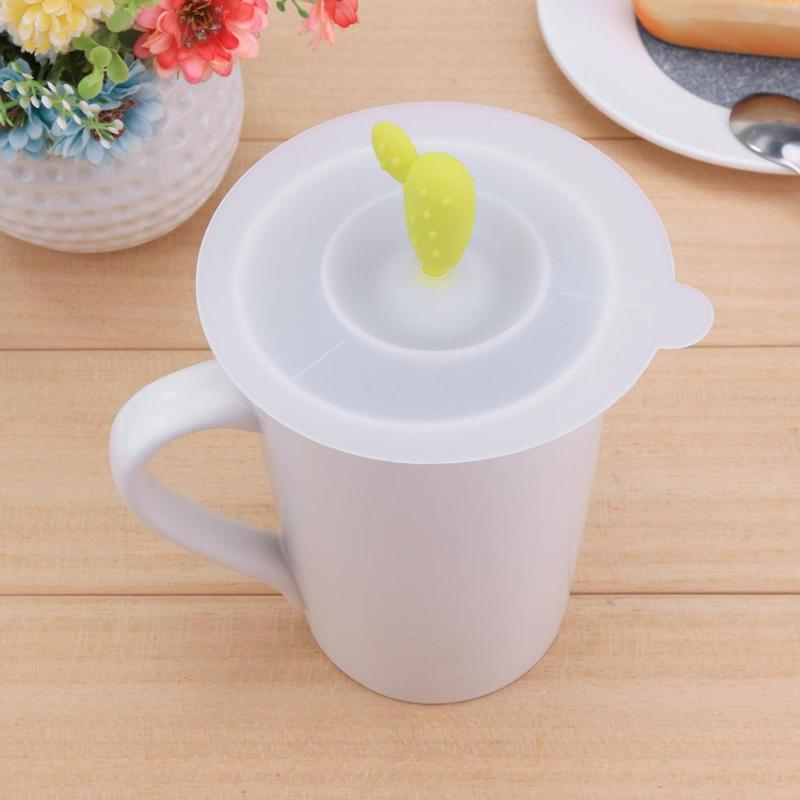 Hot Sale Reusable 4 Colors Cute Anti-dust Silicone Glass Cup Cover Coffee Mug Suction Seal Lid Cap Silicone Cup Cover