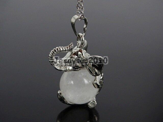 Natural Clear Quartz Gems Stone Round Ball Chakra Healing Elephant Pendant  Necklace Beads Healing Jewelry Design 632dc0a18f10