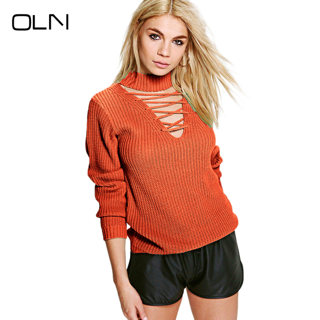 6f6bf1319e WomanPullovers Gola Camisa De Malha de Manga Longa de Tricô Laranja  Camisola Do Natal Feminino Sweter