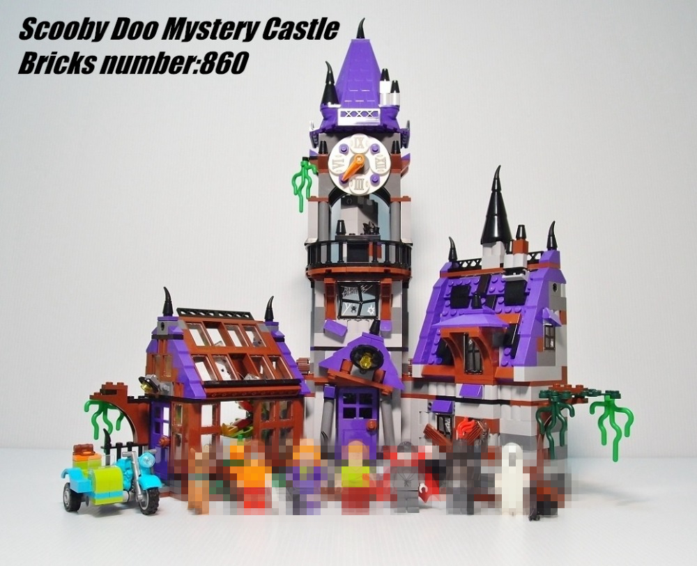 Scooby Doo Mystery Castle Courtyard Mansion fit legoings Scooby Doo figures Castle Building block bircks 75904 gift Kid diy toy