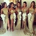 2016 Сексуальный Плюс Размер Платья Невесты Милая Рукавов Золото Блесток Sparkly Длинные Платья Невесты