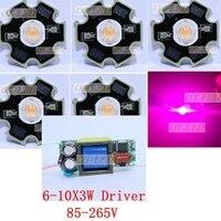 10pcs 3w Full Spectrum Led 380 840nm 1pcs 6 10x3w 600mA Led Driver Diy 30w Led