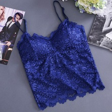 Women Lace Hollow Out Nightclub Cami Bralette Crochet Lace Tube Top Gather Tanks Top