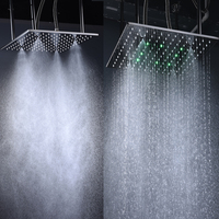 High Quality Rain Shower Head Ceiling Square Showerhead Stainless Steel Mirror Finished LED 3 Color Change