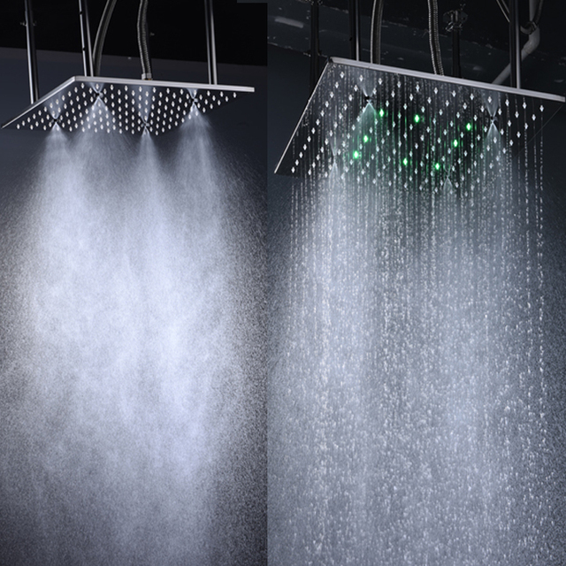 High Quality 16 Inch Rain Shower Head Ceiling Square Showerhead Stainless  Steel Mirror Finished LED 3