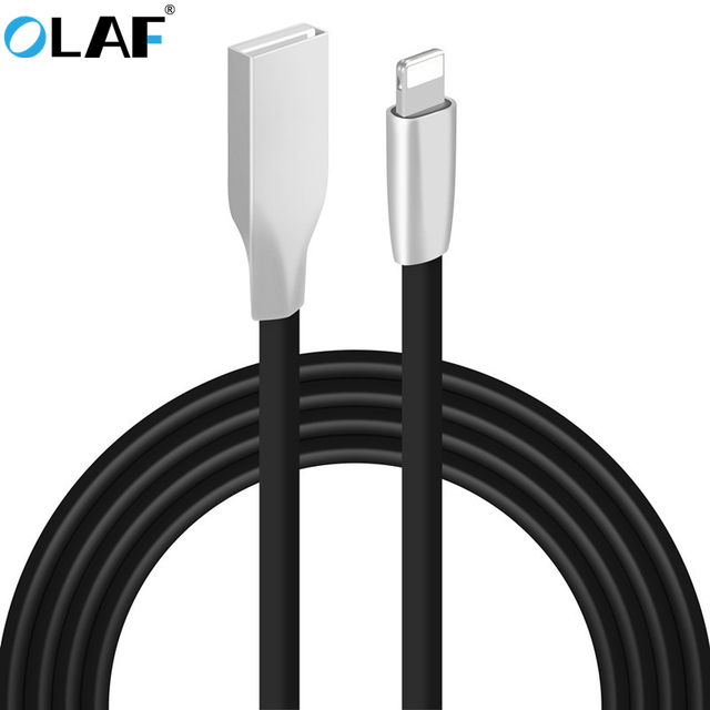 OLAF 3D Zinc Alloy Fast Charging Data Sync Charger USB Cable For iPhone 5 5s 6 6s 7 8 Plus X iPad Air Mini Mobile Phone Cables