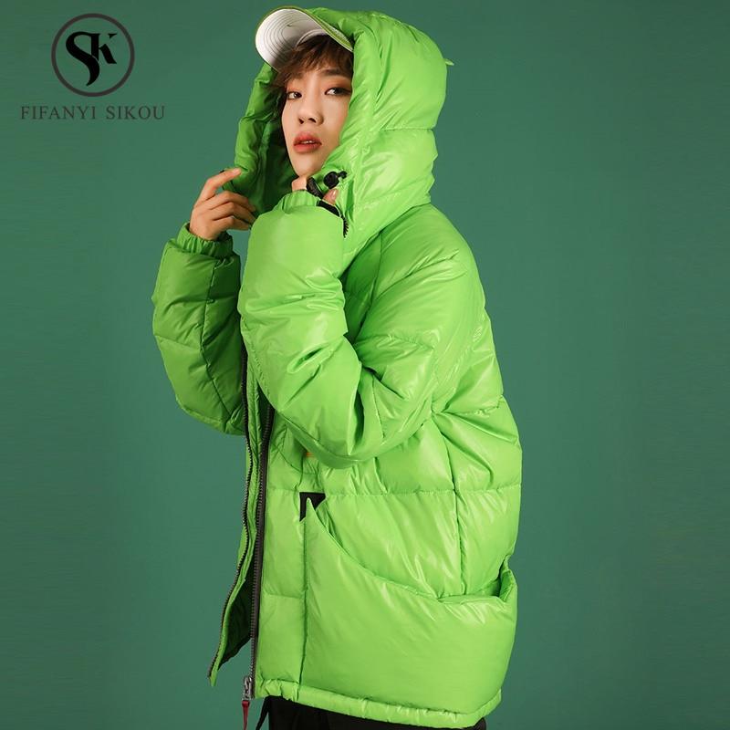 Winter Down jacket Women Fashion Fluorescent green Short Hooded Down Coat Woman Loose Warm Parka White