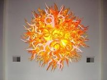 лучшая цена Customized Size Round Shape Hand Blown Colored Glass Modern Chandelier Lighting