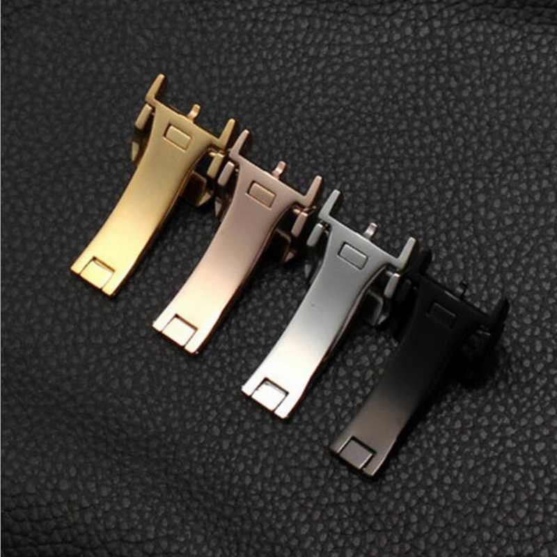 18mm wysokiej jakości 316L ze stali nierdzewnej zegarek z motylami pasek klamra różowe złoto srebro składane zapięcie dla zegarków IWC zegarek wymiana