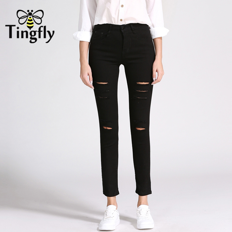 Tingfly Skinny Girls Womens jeans women pencil Mid Waist Stretch Female Pants black 2018 Jeans for women plus size