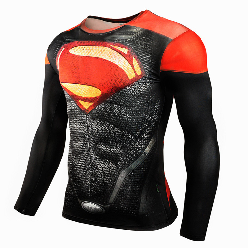 Fashion superhero anime t shirts punisher superman t shirt men fitness gyms compression shirt tights crossfit brand clothing-4