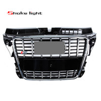 Refit Fit Audi A3 S3 RS3 2009 2012 ABS Chrome Black Style Honeycomb Mesh Front Bumper Middle Grille Auto accessories