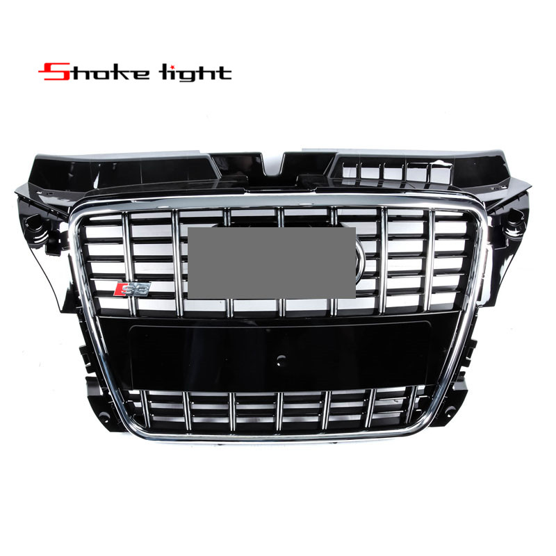 Refit Fit Audi A3 S3 RS3 2009-2012 ABS Chrome Black Style Honeycomb Mesh Front Bumper Middle Grille Auto accessories