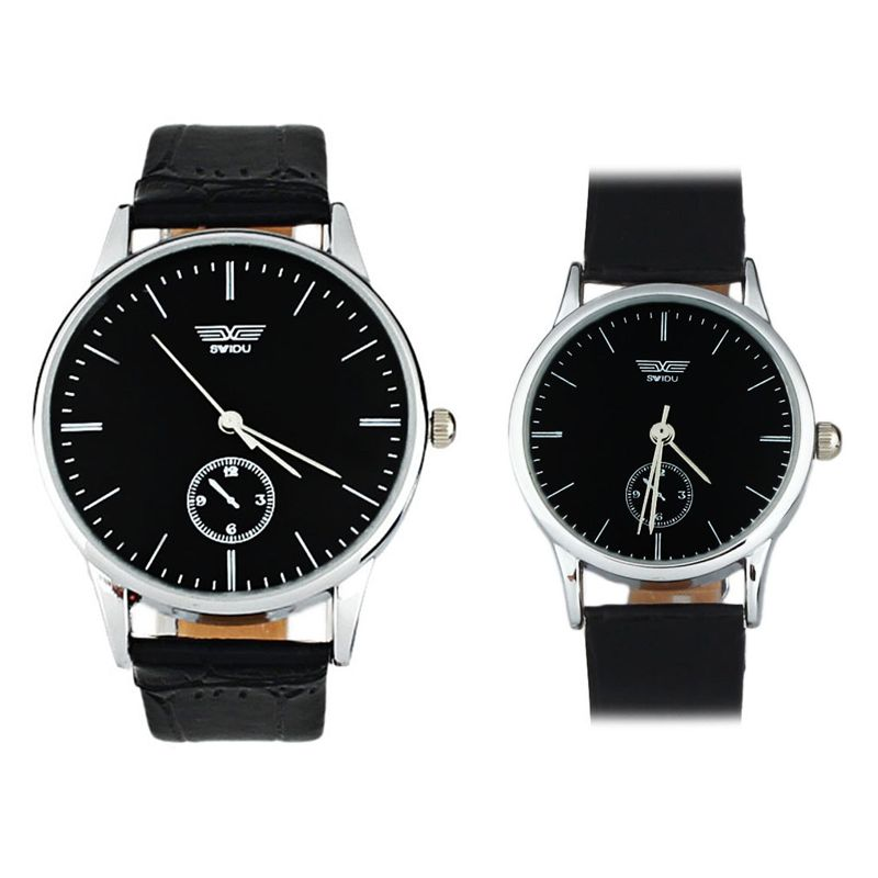 Couple Watches  Quartz Analog Wristwatch For Men Women Simple Classic Black  Love's Leather Watches Luxury Gift Dropship F509
