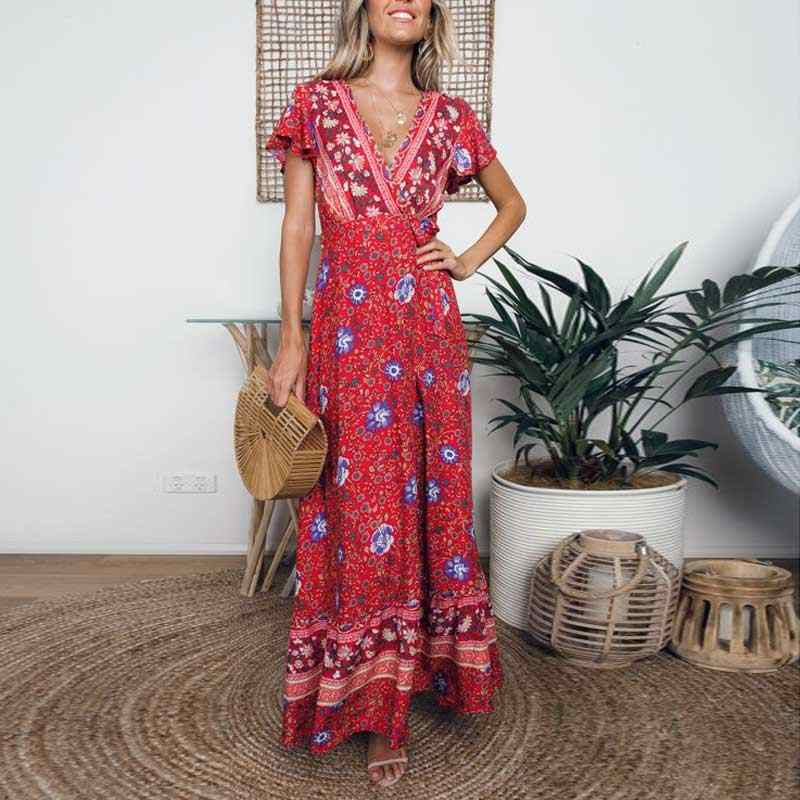 Богемный Вдохновленный 2019 летнее платье с оборками, рукав, красный цвет, сексуальное длинное богемное пляжное платье, женские праздничные сексуальные пляжные платья