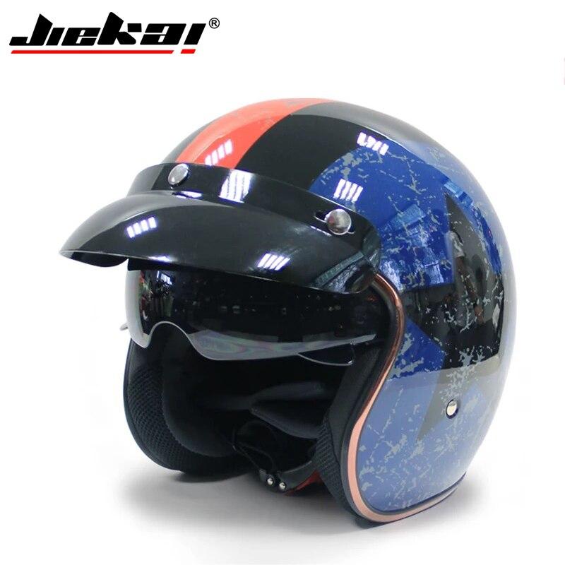 Jiekai Motorcycle Helmet 3 4 Open Face Vintage Casco Moto Jet Scooter Bike Helmet Retro DOT