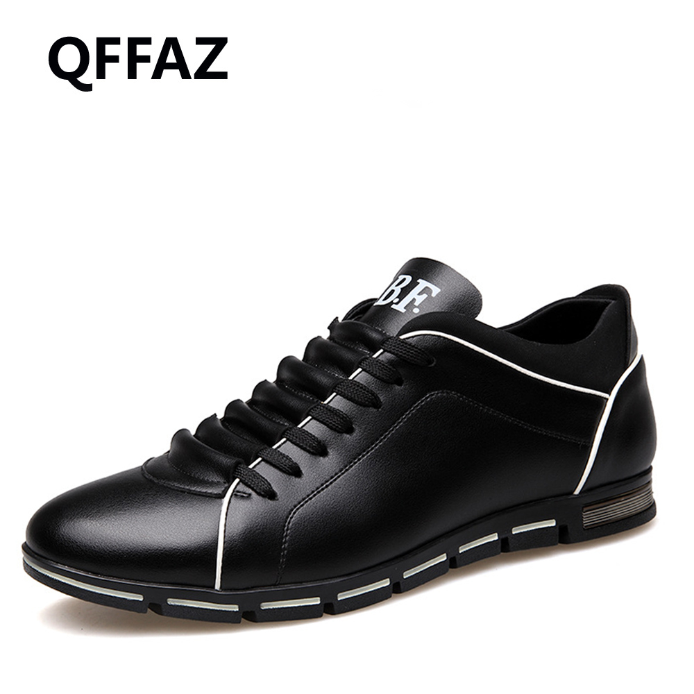 QFFAZ New Summer Men Casual Shoes Fashion leather Shoes Breathable Casual British style Lace up Men Casual shoes Size 38-48 2017 new spring imported leather men s shoes white eather shoes breathable sneaker fashion men casual shoes