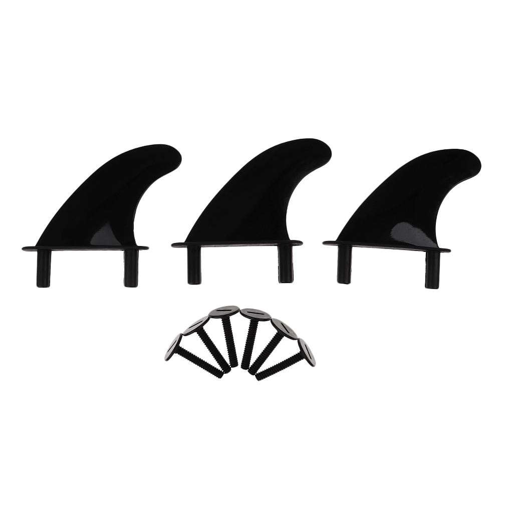3Pcs Performance Plastic Soft Top Surfboard Fins + Replacement 6 Fins Screws Bolts for Softboard And SUP Stand Up Paddle Board image