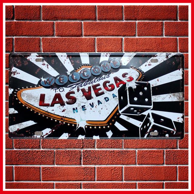 New Las Vegas Vintage Metal Signs Home Decor Vintage Tin Signs Pub Vintage  Decorative Plates Metal