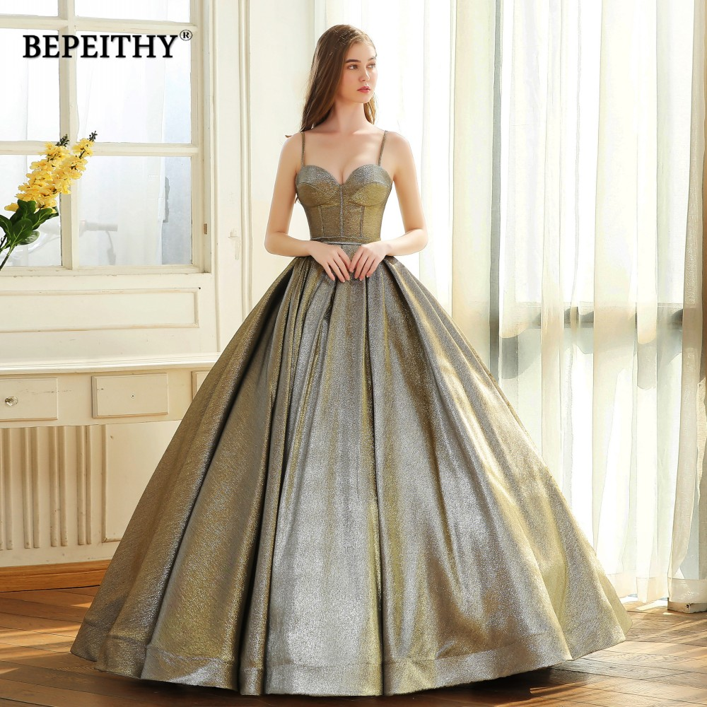 Abendkleider Sweetheart Reflective Ball Gown Prom Party Gown 2019 Vestido De Festa Floor Length Vintage Evening