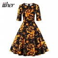 iiiher Brand Women Short Three Square Neck Cotton Floral Dress Party Picnic Dress Vintage 50s Dresses Woman Office Casual Party