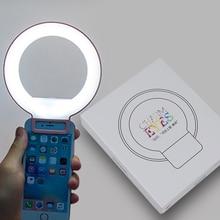נייד קליפ על חמוד יפה LED Selfie טבעת אור מנורת דיוקן עצמי משלים למלא תאורה עבור iPhone HTC smartphone