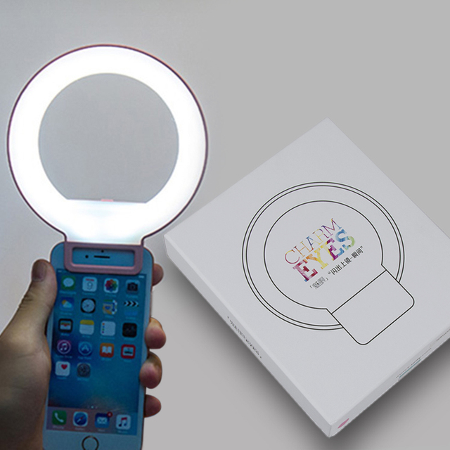 Portable pince on mignon belle LED Selfie anneau lumière lampe autoportrait supplémentaire remplissage éclairage pour iPhone HTC Smartphone