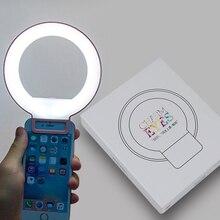 휴대용 클립 온 귀여운 사랑스러운 led selfie 링 라이트 램프 자화상 보충 채우기 조명 아이폰 htc 스마트 폰에 대 한