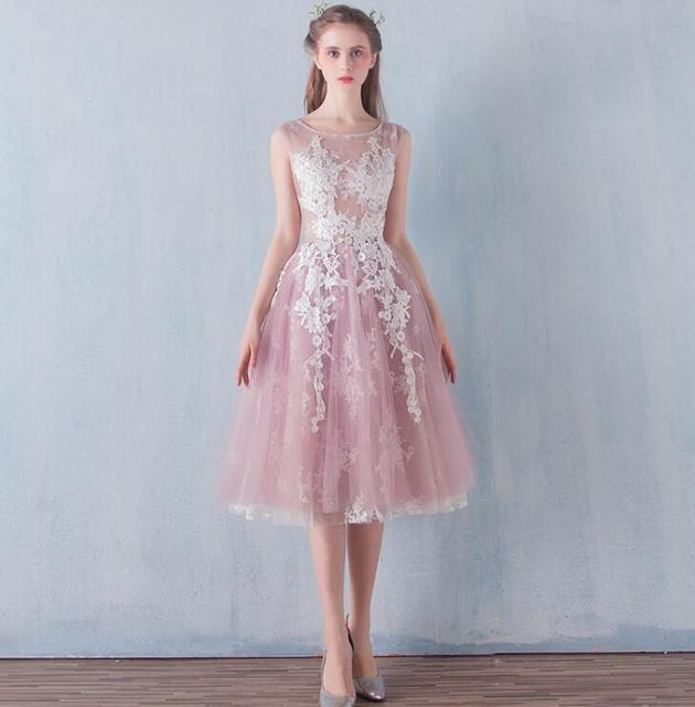 f34355f0ed Piękny różowa suknia balowa suknie balowe 2017 O szyi sukienki na przyjęcie  krótki Lady Dress Tulle