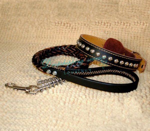 Perros grandes correas cuerda de la cadena de perro de cuero collares para mascotas de lujo