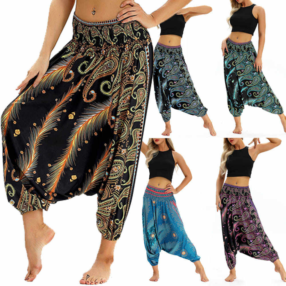 2c519850fe 2018 Fashion Women Casual Loose pants casual print Trousers Baggy Boho  Aladdin Harem Pants 8.29