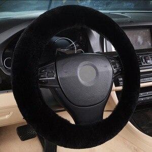 Image 4 - Otantik koyun derisi araba streç on direksiyon kılıfı/yumuşak avustralya yün araç örgü üzerinde direksiyon simidi koruyucu