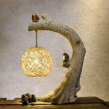 Lámpara de mesa de Nido de Pájaro Vintage China creativa lámpara de mesa Retro cálida Art Deco para dormitorio sala de estar Luminaria de cabecera