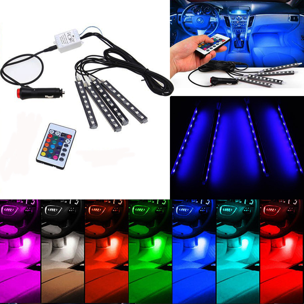 4x 9LED Wireless Remote/Music/Voice Control Interior Floor Foot - Car Lights