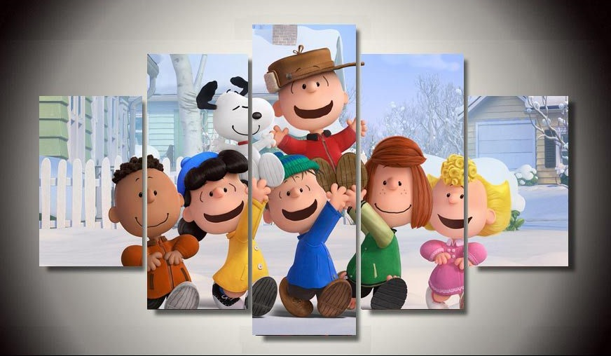 Unframed Printed The Peanuts Gang Movie 5 Pieces Painting Wall Art Children's Room Decor Canvas Painting Free shipping image