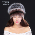 YCFUR Brand Design Real Fur Hats Winter 2016 Handmade Natural Rex Rabbit Fur Caps With Silver Fox Fur Beanies Female Pompom Hat